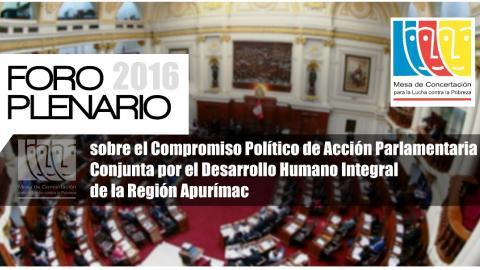 La MCLCP organiza un Foro con Candidatos/as sobre el Compromiso Político de Acción Parlamentaria Conjunta por el Desarrollo Humano Integral de la Región Apurímac.