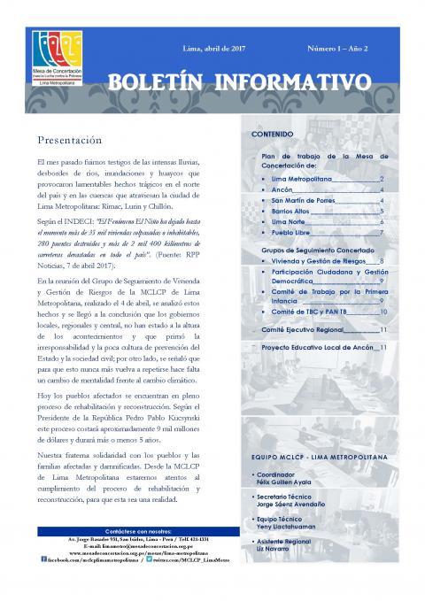Primer Boletín Informativo 2017 de la MCLCP de Lima Metropolitana